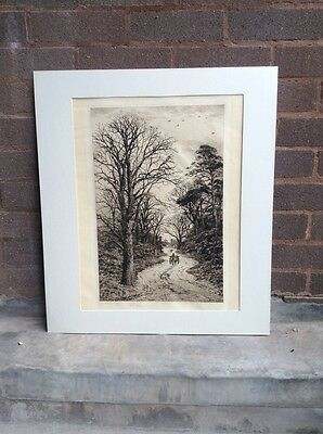 Antique Etching 'An Old English Lane' By Fred Slocombe –  Signed