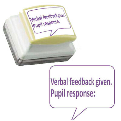Verbal feedback given. Pupil response: Self-inking Teacher Stamp. Large 31x26mm.