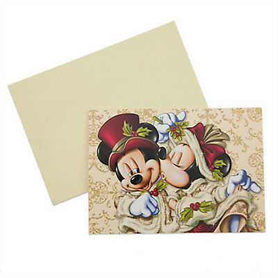 Disney Parks Victorian Mickey and Minnie Mouse Kiss Christmas Cards w/Envelopes