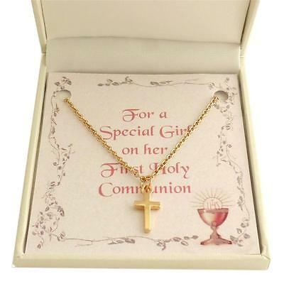 First Holy Communion Necklace for Girl. Rose Gold Cross Pendant. Gift Boxed.