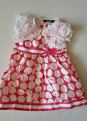 Spotty pink girls dress and bolero set/outfit  2,3 ,4,5,6 y  party summer