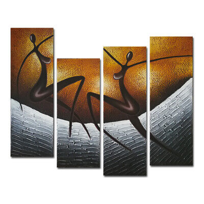 Original Abstract Canvas Oil Painting Home Decor Wall Art Brown Dancer Framed