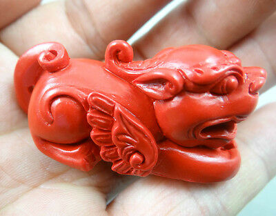 Chinese Foo Fu Dogs Mythical Guardian Winged Lions Wealth Protection Cinnabar