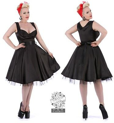 Hearts And Roses H&r London Satin Prom Swing Party Dress Retro Vintage 50's
