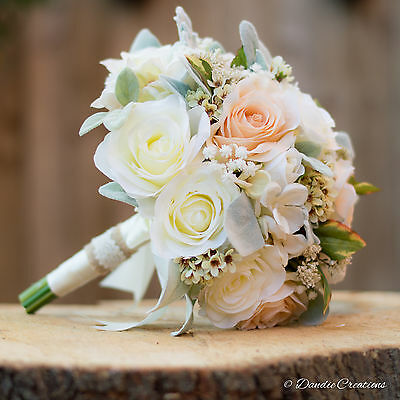 Wedding Flowers-Bridal Bouquet in Mixed Silk Flowers-Peach & Ivory New for 2017