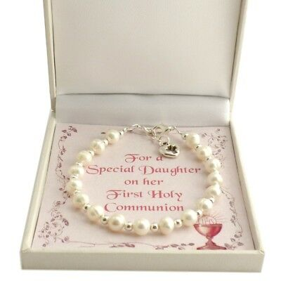 Girls First Communion Bracelet, Real Pearls. Gift for Daughter, Goddaughter etc