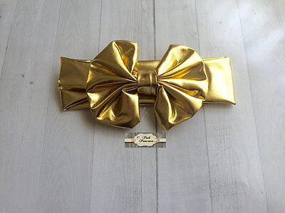 Baby Large Metallic Gold Bow Turban Headband, Photo Prop, Turban Headband