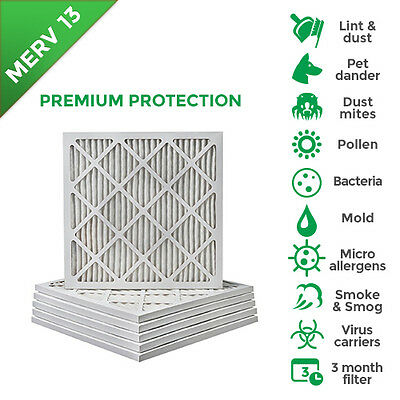 18x22x1 Merv 13 Pleated AC Furnace Air Filters.  6 Pack