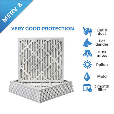 18x22x1 MERV 8 Pleated AC Furnace Air Filters.  6 Pack