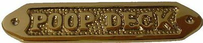 "Poop Deck Plaque Solid Brass 6"" Wall Decor Home Door Nameplates Bathroom Boats"