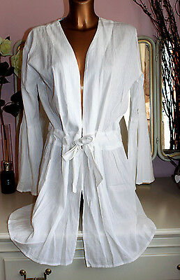 NEW WITH TAGS 100% pure cotton white beach robe cover up light weight one size