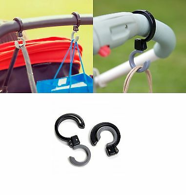 2x Universal Buggy Shopping Bag Hooks Baby Prams Pushchairs Child Toddler Diono