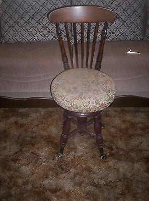 Antique Piano Organ Stool Claw Glass Ball Feet High Chair Back