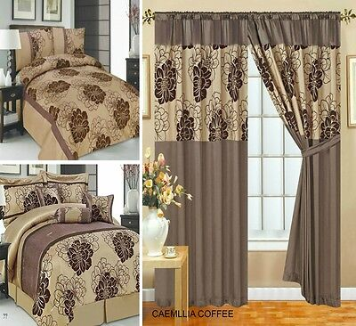 Curtain Pair Pencil Pleat Pay Separately For Matching Bedspread 7 Pieces Coffee