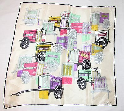 VTG Japan Silk Handkerchief Scarf Colorful Carriages T Ita Design