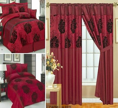 Curtains Pair Pencil Pleat Available 7 Pieces Bedspread 3 Pieces Comforter Red