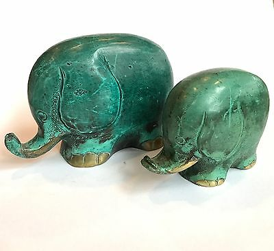 Pair of Vintage Solid Brass Elephant Figurines Painted