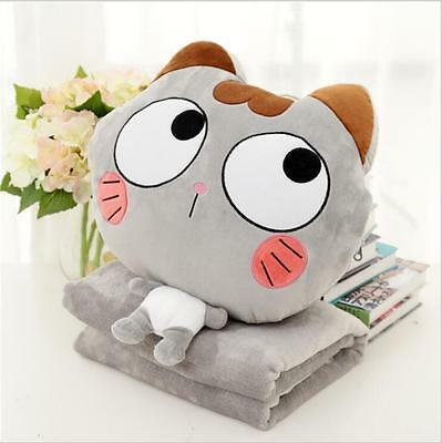 Cute Cat Design Plush Fleece Baby Pillow Blanket 2 in 1 Office Travel Nap Pillow