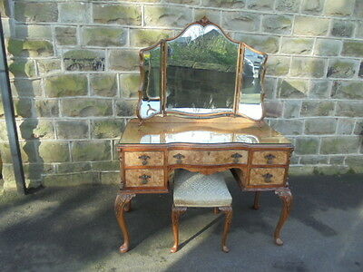 Antique Burr Walnut Dressing Table & Stool By Maple
