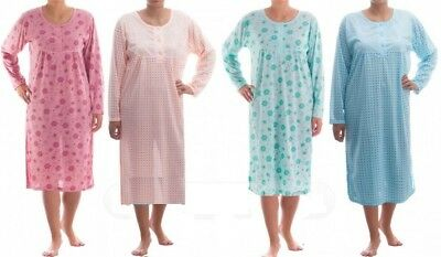 Ladies Cotton Rich Long Sleeve Long Nightdress Nighties Nighty Plus Size M - 6XL