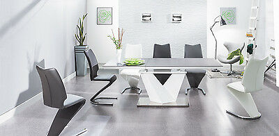 ALARAS II 140 cm Black Glass and White High Gloss Modern Extendable Dining Table