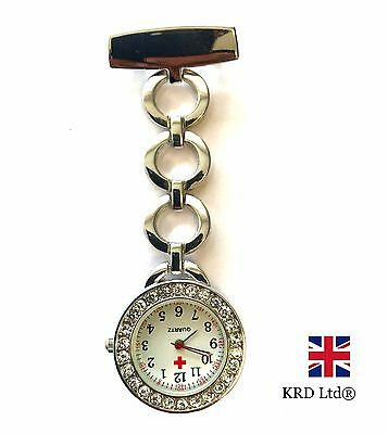 DESIGNER Stainless Steel Nurse Watch Brooch Tunic Fob Watches With FREE BATTERY