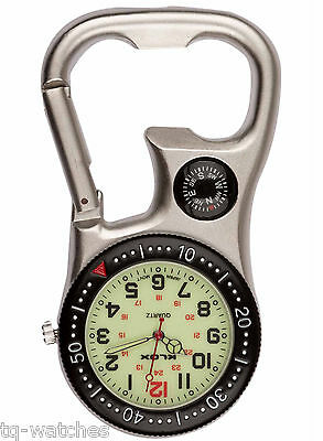 Carabiner Clip Belt Fob Watch. Luminous, Compass, Bottle Opener, Nurses Hikers