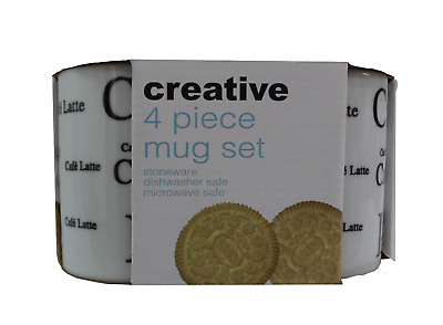 Set of 4 White Coffee Mugs In Presentation Pack Dishwasher & Microwave safe