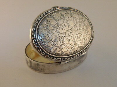 Sterling Silver Chased Trinket Pill Box Treasure Marked 830S
