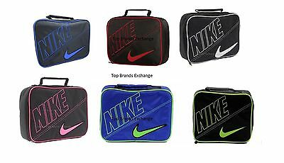 Kids Sporty Nike Insulated School Lunch Box Bag Tote Carrier Black Red Blue Volt