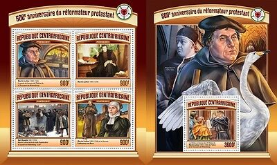 Z08 CA17113ab CENTRAL AFRICA 2017 500 Years Reformation Martin Luther MNH ** Pfr