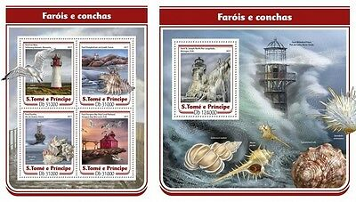 Z08 IMPERF. ST17110ab Sao Tome and Principe 2017 Lighthouses and shells MNH ** P
