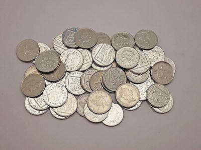 Lot of 50 10 pence coins from Great Britain  (5 pounds) mixed dates