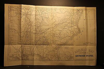 Railway Map of The Southern States, Fisk & Russell, N. Y., Engraving 1866