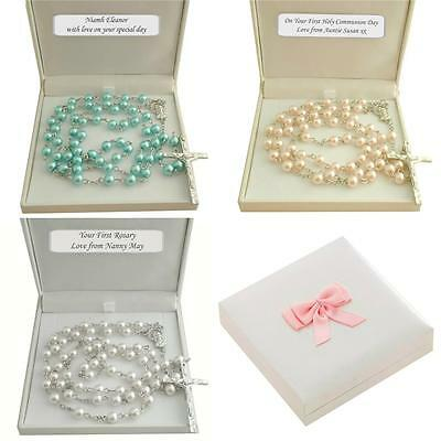 Rosary Beads for Girls or Boys in Personalised Gift Box, First Communion Gift