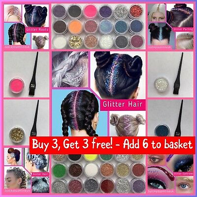 Glitter Hair Gel for Hair Roots Parting Beards Eyebrows Festival Makeup + Brush
