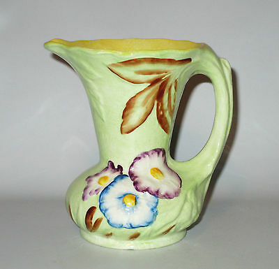 "James Kent 5"" Poppy Jug Pitcher Green 1930s England Embossed Flowers"