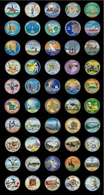 1999-2008 Set Of 50 Colorized State Quarters - P Mint (50 Coins)