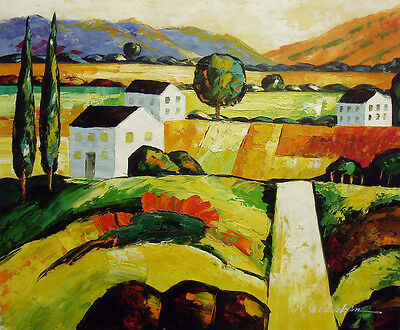 Paintings Contemporary Oil Painting Of Landscape Road To House On Hill In Wood Frame 26x30 Carefully Selected Materials