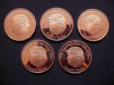 2016 Donald J. Trump 45th President Copper Round Coin(5 Coins)