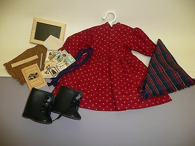 Pleasant Company American Girl Kirsten's School Dress, Shawl, Boots & Ribbons