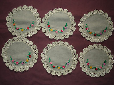 #927  Beautiful Vintage Embroidered  6 Linen Doilies  15cm(6'')