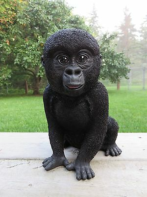 Gorilla Sitting Baby Resin Jungle Animal New Black 9 in. Ornament Figurine