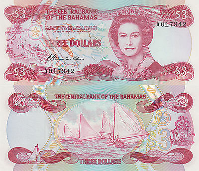 Bahamas 3 Dollar (ND) - QEII/Sailing Regatta/p44b UNC