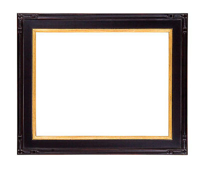 8 x 10 Black W/ Red Rub Finish & Hand Applied Gold Leaf  Beautiful Picture Frame