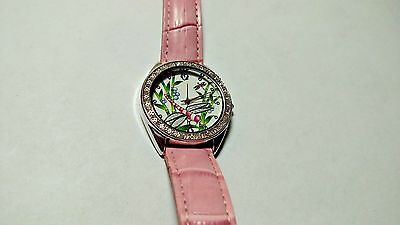 """Women's Cerentino Dragon Fly Watch Pink Band And Bling Very Cool Looking 9 1/4"""""""