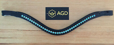AGD black patent leather curved browband, TURQUOISE Swarovski crystals. FULL