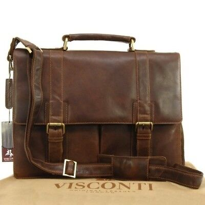 Visconti Vintage Leather Briefcase & Strap - VT6 - Bennett. Free Shipping