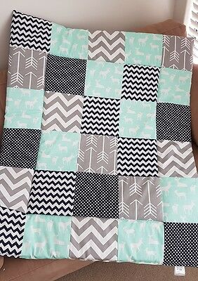 Mint & Navy Deer Patchwork Cot Quilt or Playmat Handmade