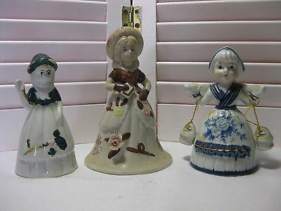 Vintage Lot 3 Porcelain Bells Blue/White Dutch Girl Brown/White Girl 1 Farrah